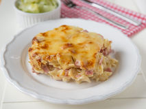 Creamy baked pasta with bacon and cheese Stock Photo