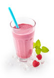 Creamy berry smoothie with fresh raspberries Royalty Free Stock Photos