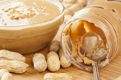 Creamy Brown Peanut Butter Stock Photo