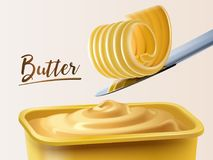 Creamy butter container. Curl butter on knife in 3d illustration stock illustration