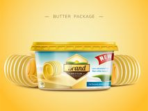 Creamy butter package design. Curl butter elements in 3d illustration royalty free illustration