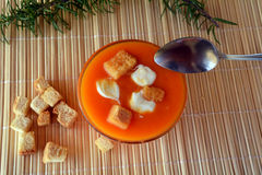 Creamy Butternut Squash Soup With Croutons On A Bowl. Organic Food. Royalty Free Stock Images
