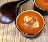 Creamy Butternut Squash Soup With Croutons On A Bowl. Organic Food. Stock Image
