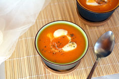 Creamy Butternut Squash Soup With Croutons On A Bowl. Organic Food. Royalty Free Stock Photos