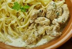 Creamy Cajun Linguine. Noodles pasta,  perfect family meal Royalty Free Stock Photos