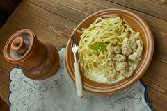 Creamy Cajun Linguine. Noodles pasta,  perfect family meal Stock Photography