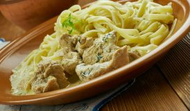 Creamy Cajun Linguine. Noodles pasta,  perfect family meal Royalty Free Stock Image