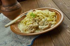 Creamy Cajun Linguine. Noodles pasta,  perfect family meal Stock Photos