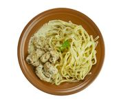 Creamy Cajun Linguine. Noodles pasta,  perfect family meal Royalty Free Stock Images