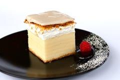Creamy cake on black plate Royalty Free Stock Photos