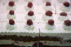 Creamy cake with cherry Stock Photo