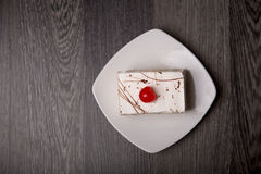 Creamy cake with cherry, top view Royalty Free Stock Photography