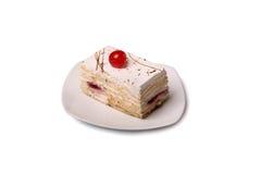 Creamy cake with cherry Stock Photos