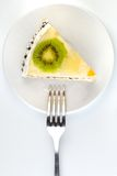 Creamy cake with fork Royalty Free Stock Images