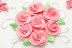Creamy cake with roses. Creamy cake decorated with roses. suitable as background Stock Image