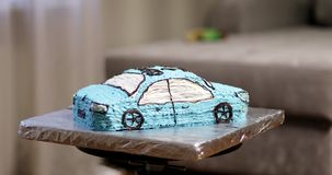 Creamy cake in the shape of the car. Pastry. Modern Cake. 4K footage stock video