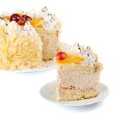 Creamy Cake With Fruits And Almonds Stock Photos