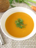 Creamy carrot soup with coconut milk Stock Photo