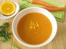 Creamy carrot soup with orange juice Stock Photo