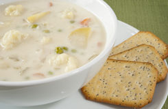 Creamy Cauliflower Soup with Crackers Royalty Free Stock Images