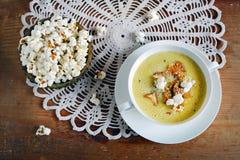 Creamy chanterelle mushroom soup, corn chowder and popcorn Royalty Free Stock Photography