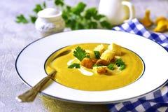 Creamy chanterelle soup. Stock Photo