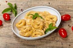 Creamy Cheese & Basil Tortellini Stock Photo