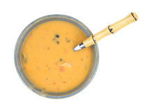 Creamy Cheese Bisque Soup With Spoon Royalty Free Stock Images