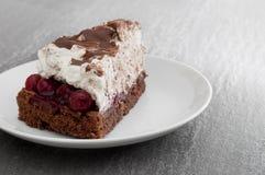 Creamy cherry chocolate cake Stock Photos