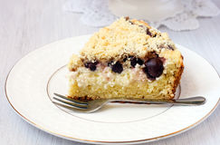 Creamy cherry coffee cake Stock Photos
