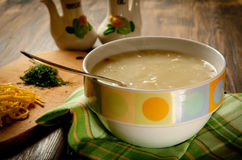 Creamy Chicken Noodle Soup. In a bowl Stock Image