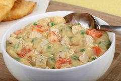Creamy Chicken Soup Closeup Stock Images