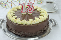 Creamy chocolate birthday cake Stock Images
