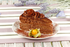 Creamy chocolate cake Stock Photos