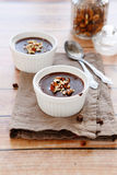 Creamy chocolate dessert with nuts Royalty Free Stock Photos