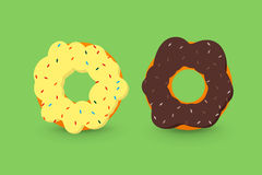 Creamy and chocolate donuts Royalty Free Stock Photo
