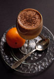 Creamy chocolate orange dessert. In a glass Royalty Free Stock Images