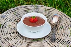 Creamy chocolate pudding on grey wicker tray Stock Photo