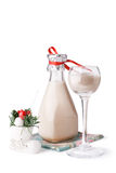 Creamy Christmas cocktail. And stocking decoration isolated against a white background Stock Photography