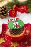 Creamy Christmas cupcake Stock Photo