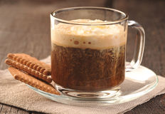 Creamy coffee and cookies Stock Photos