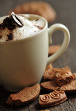 Creamy coffee and cookies Royalty Free Stock Image