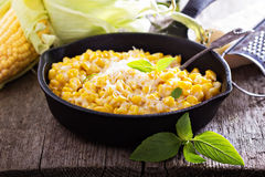 Creamy corn with parmesan Stock Images