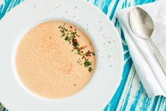 Creamy crab soup bisque with spices stock image