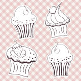 Creamy cupcake. Set of creamy cupcake vector set. Vector illustration royalty free illustration