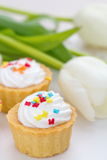 Creamy cupcakes  with spring tulips Royalty Free Stock Photos