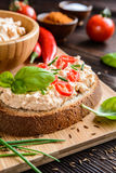 Creamy curd spread with chili, ground cumin, chive and basil Stock Photo