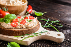 Creamy curd spread with chili, ground cumin, chive and basil Stock Photos