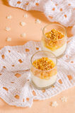 Creamy dessert with caramelized pears and nuts Royalty Free Stock Photos