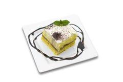 Creamy dessert. Isolated on white background Stock Photos